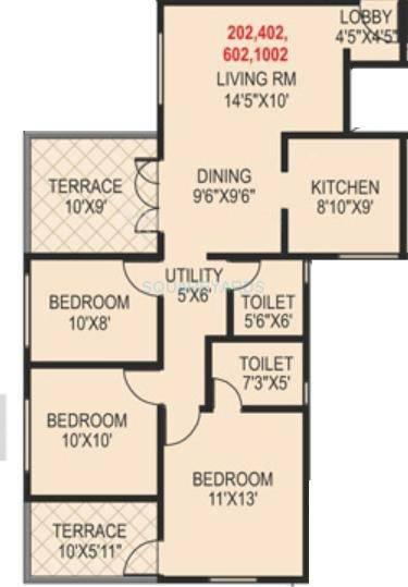 paranjape schemes madhukosh apartment 3bhk 1460sqft 11753