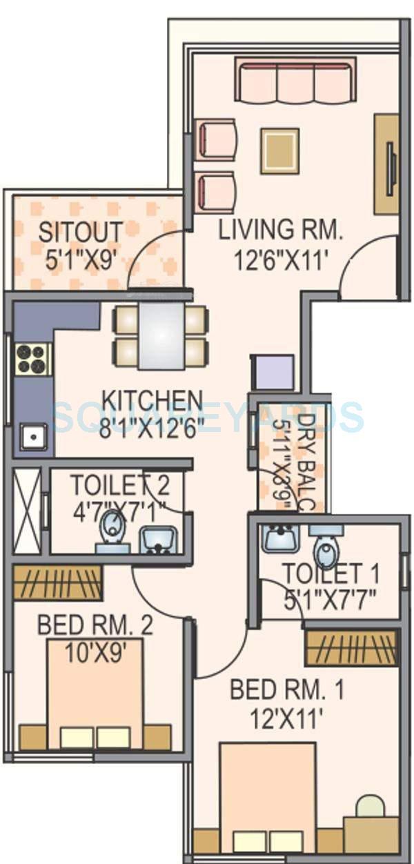 paranjape schemes pebbles apartment 2bhk 850sqft 10630
