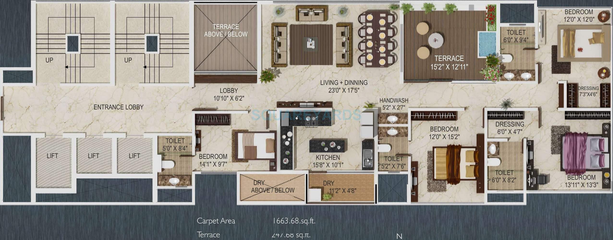 paranjape schemes sky one apartment 4bhk 3493sqft 11011
