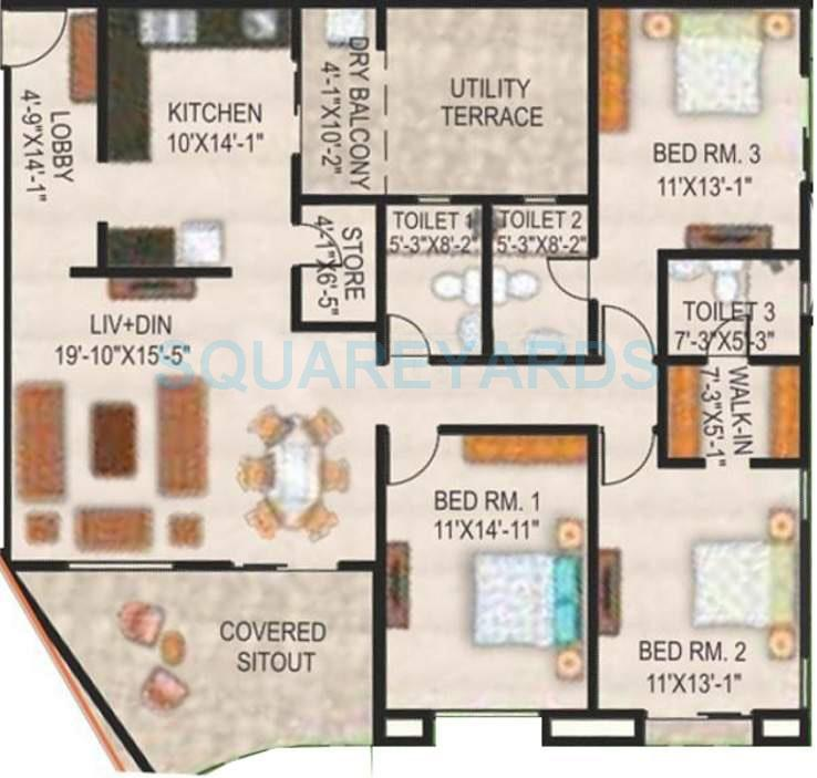 paranjape schemes the highlands apartment 3bhk 1244sqft 10813