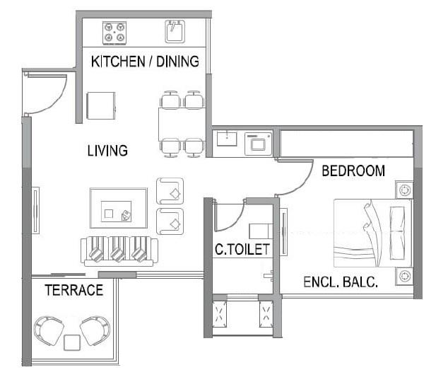 paranjape trident towers apartment 1 bhk 445sqft 20213213133230