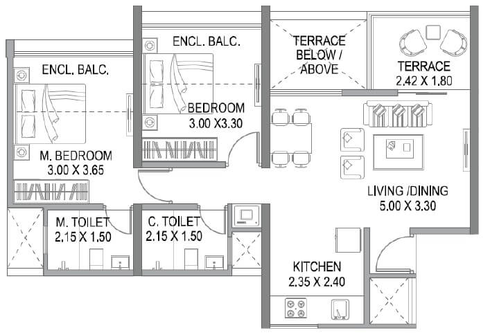 paranjape trident towers apartment 2bhk 661sqft 1