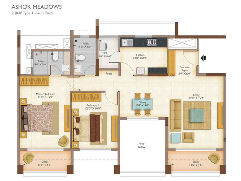 peninsula ashok meadows apartment 2bhk 1330sqft 1