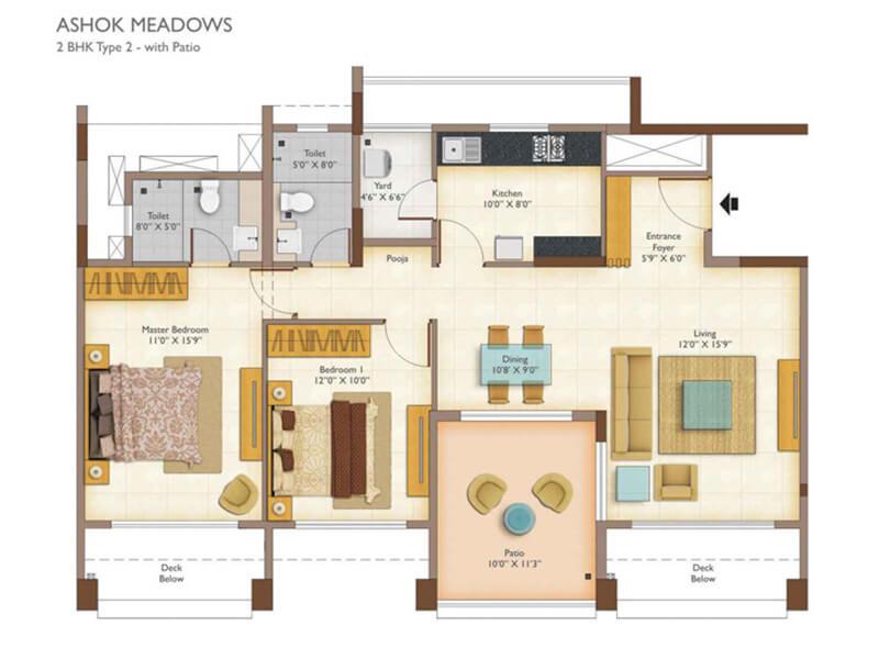 peninsula ashok meadows apartment 2bhk 1335sqft 1