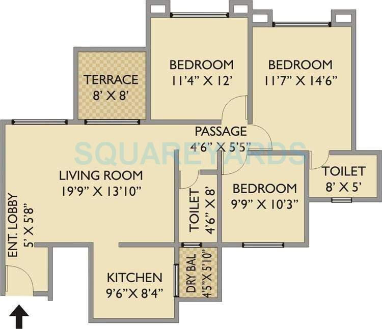 pride park xpress apartment 3bhk 1250sqft 11699