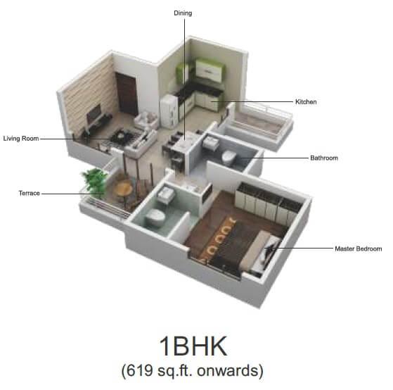 pristine greens apartment 1bhk 619sqft 1