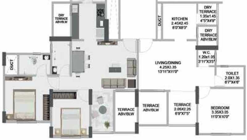 pristine greens apartment 2bhk 877sqft 41