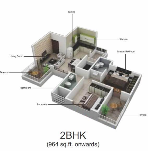 pristine greens apartment 2bhk 964sqft 1