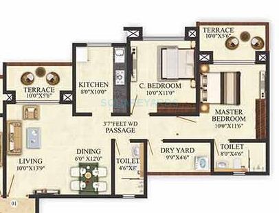 puranik aldea anexo apartment 2bhk 750sqft 1