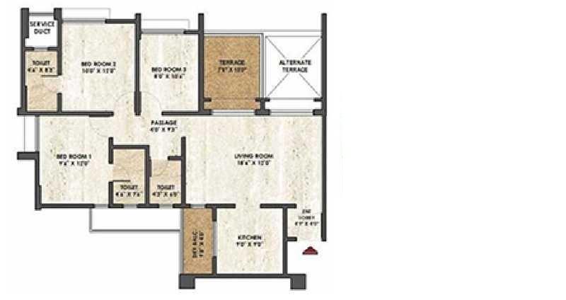 rama melange residences apartment 3bhk 1495sqft 101