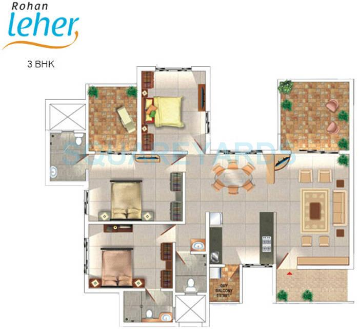 rohan leher apartment 3bhk 1445sqft 10961