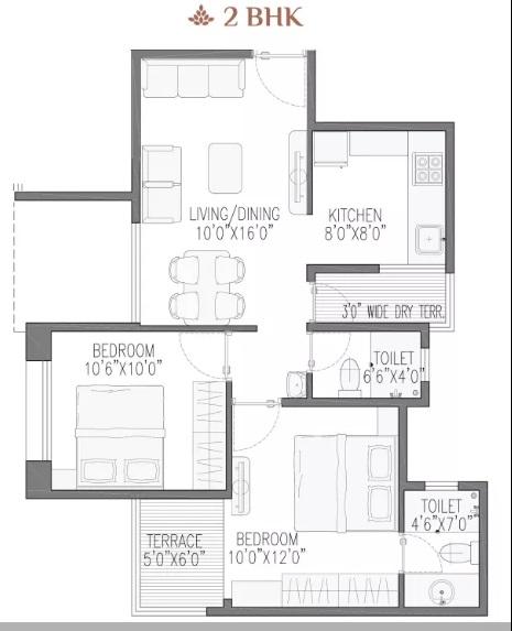 rose gardenia apartment 2bhk 680sqft01