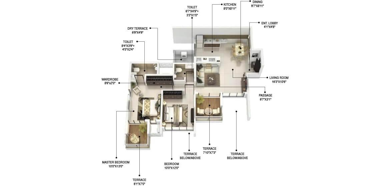 runal gateway apartment 2bhk 873sqft 1