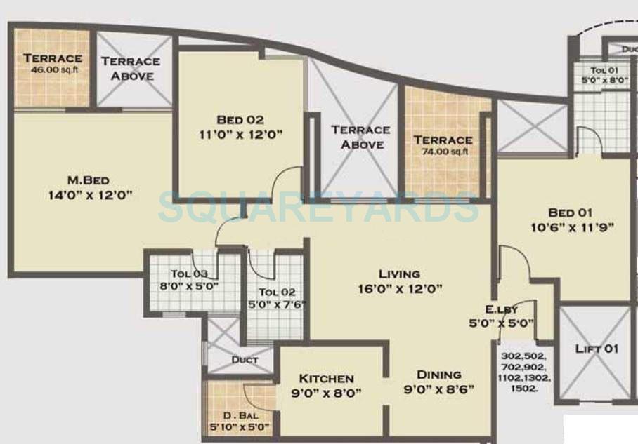 saarrthi shimmer n shine apartment 3bhk 1491sqft 10526