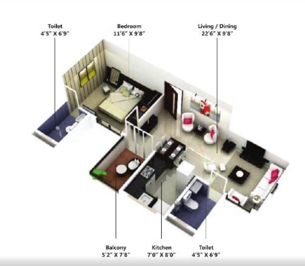 saheel itrend homes phase 2 apartment 1bhk 500sqft 1