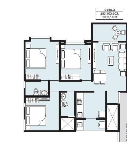 samartha 41 estera phase 3 apartment 3bhk 825sqft 1