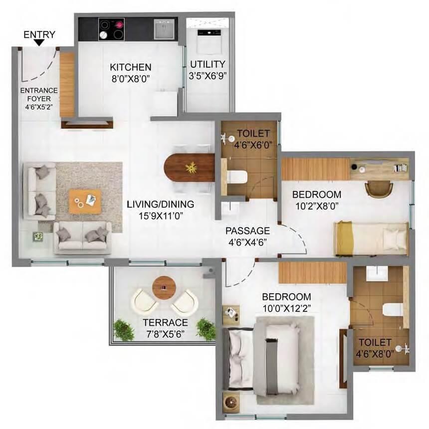 shapoorji pallonji joyville hinjewadi apartment 2bhk 655sqft 1
