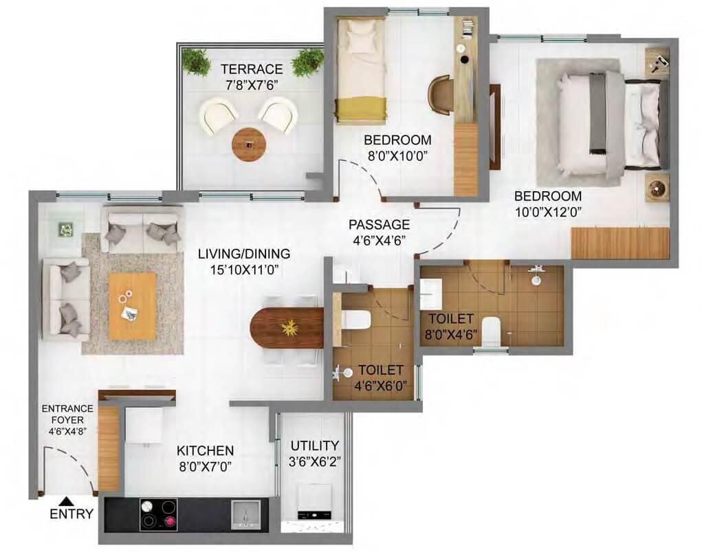 shapoorji pallonji joyville hinjewadi apartment 2bhk 672sqft 1