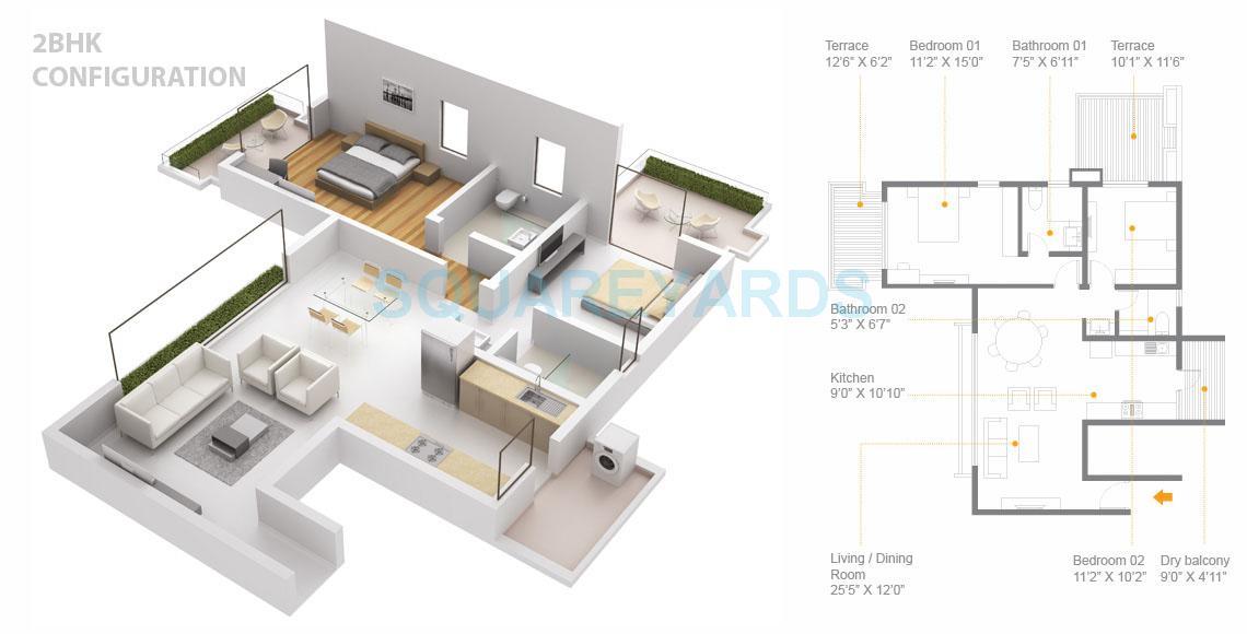 skyi songbirds apartment 2bhk 1375sqft 1