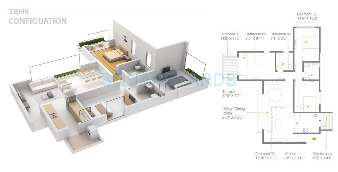 skyi songbirds apartment 3bhk 1427sqft 1