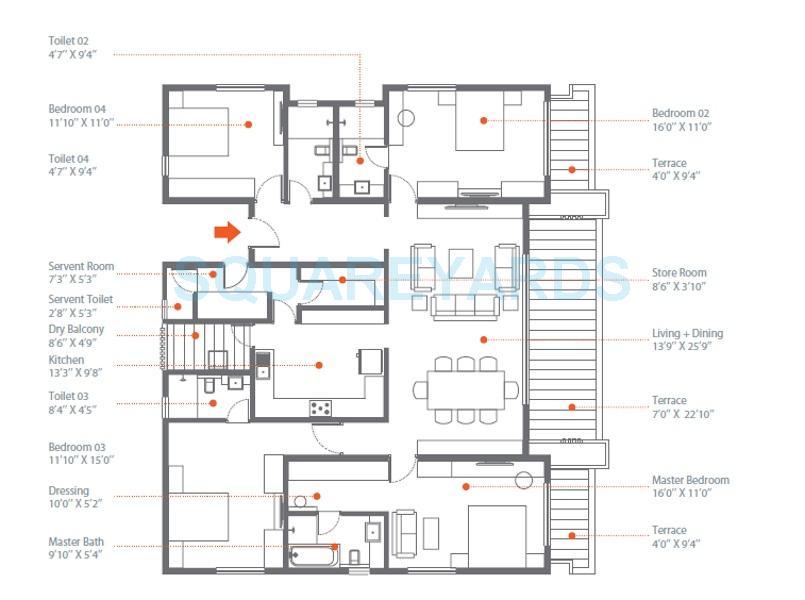 skyi songbirds apartment 4bhk 2484sqft 1