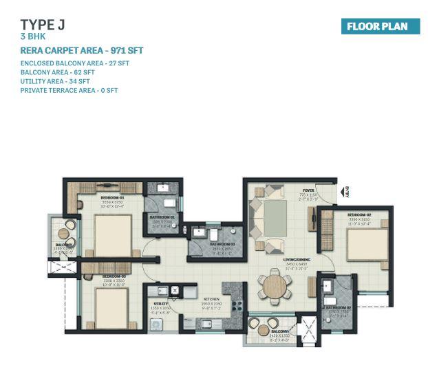 sobha nesara block 1 apartment 3bhk 971sqft41