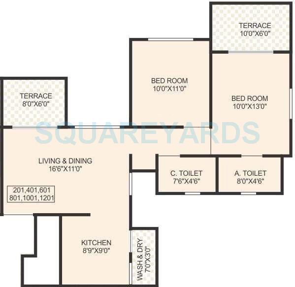 sukhwani pacific apartment 2bhk 1011sqft 10416