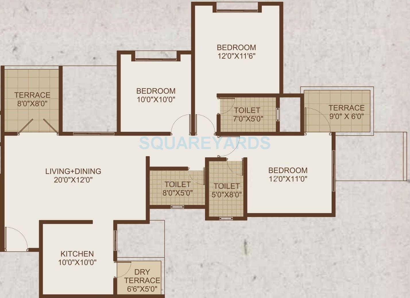 sukhwani sepia apartment 3bhk 1320sqft 9922