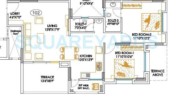 teerth aarohi apartment 2bhk 1168sqft 1