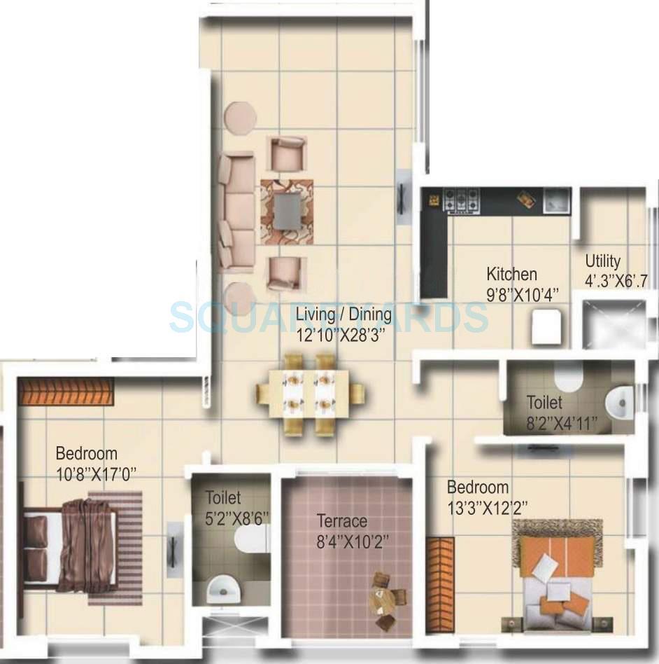 vascon aurum apartment 2bhk 1350sqft 10246