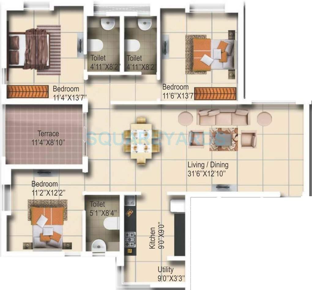 vascon aurum apartment 3bhk 1595sqft 10248