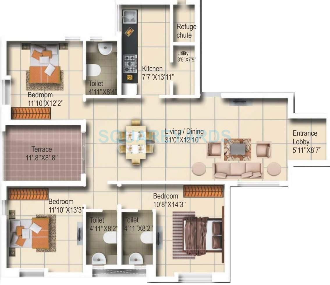 vascon aurum apartment 3bhk 1670sqft 10250