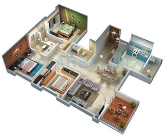 vascon willows apartment 3bhk 1680sqft 11450