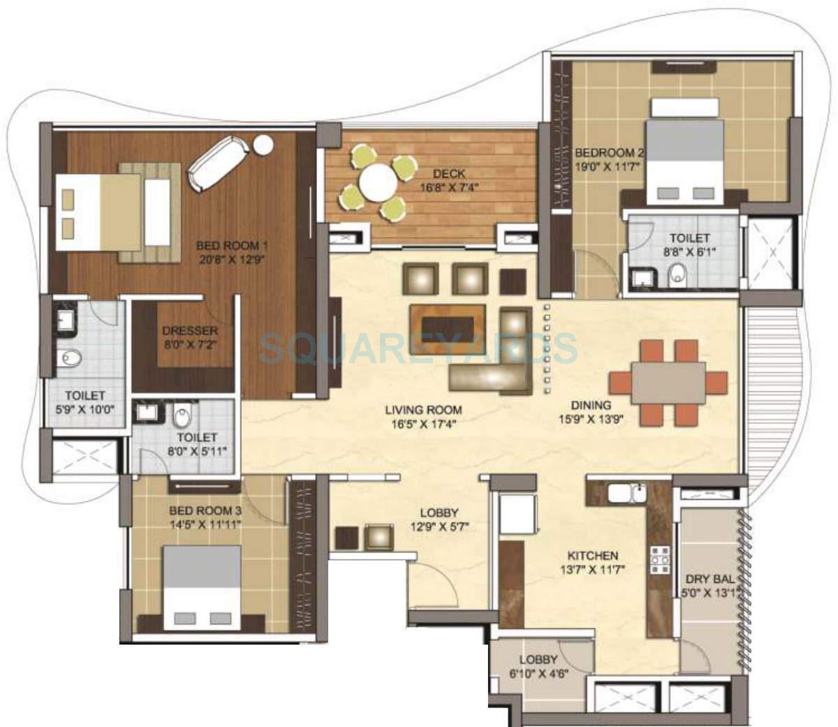 vascon windermere apartment 3bhk 3300sqft 10120