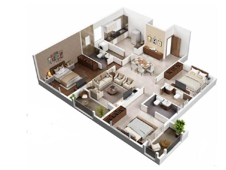 vtp blue waters apartment 3bhk 1235sqft 1