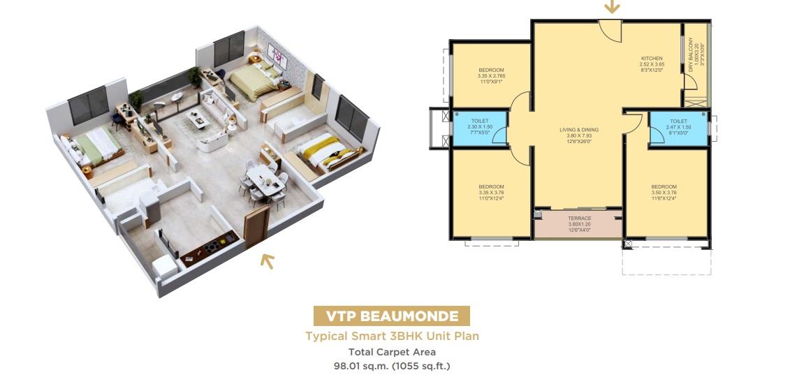vtp pegasus apartment 3 bhk 1055sqft 20204808134842