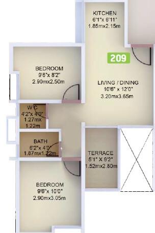 vtp purvanchal apartment 2bhk 480sqft 1