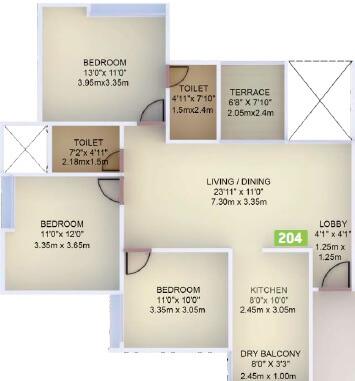 vtp purvanchal apartment 3bhk 932sqft 1