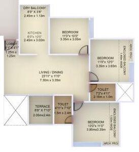 vtp purvanchal apartment 3bhk 956sqft 1