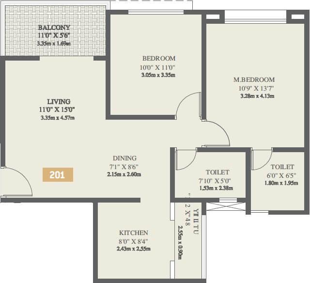 vtp solitaire apartment 2bhk 738sqft 1