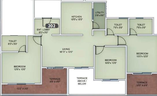 vtp urban nest apartment 3bhk 1385sqft 1