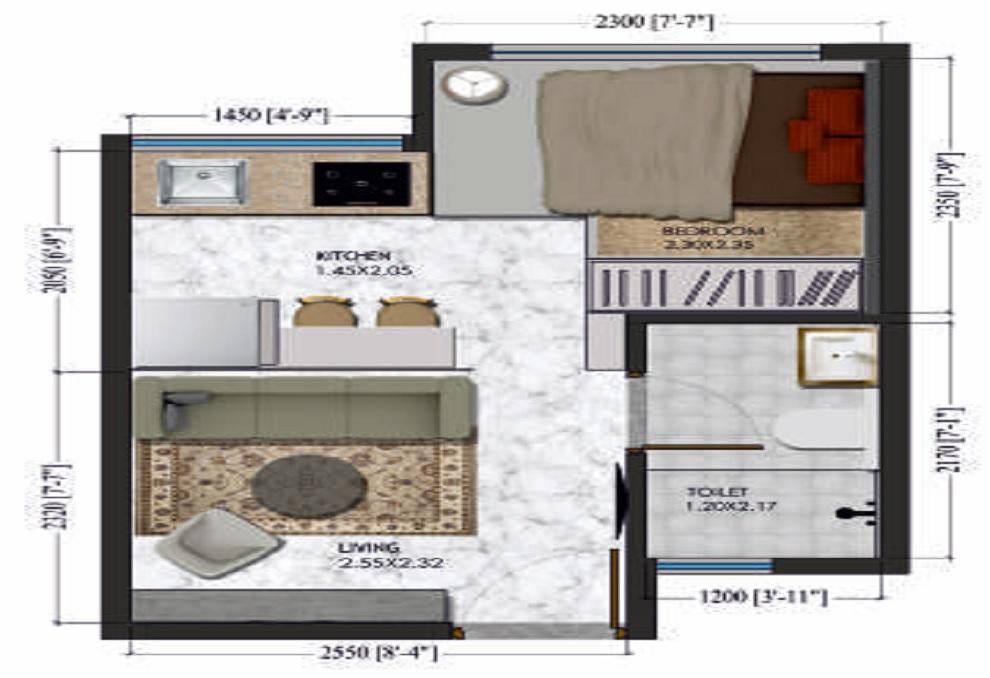 xrbia singa dhanori phase 1 studio 195sqft21