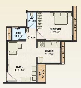 a plus golden corner apartment 1bhk 337sqft 21