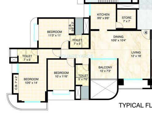 3 Bhk 1835 Sq Ft Apartment For Sale In Dosti Group Imperia At Rs 15000 Sq Ft Thane