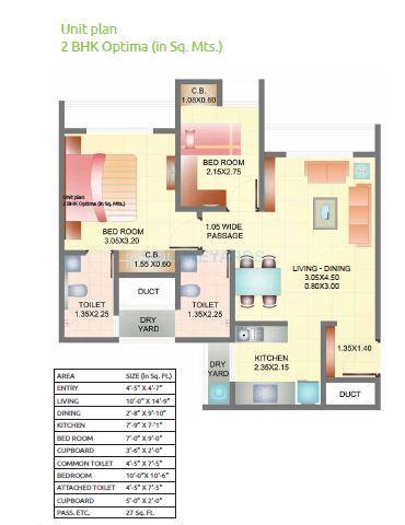 dosti landmark apartment 2bhk 842sqft 1