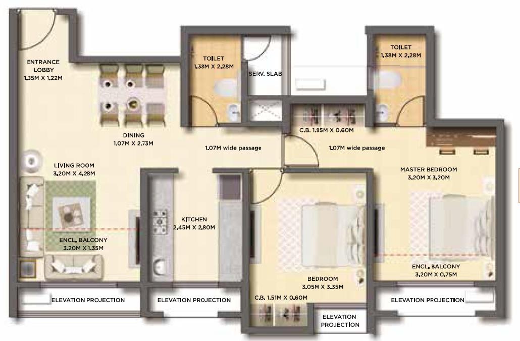 dosti west county apartment 2bhk 675sqft 1