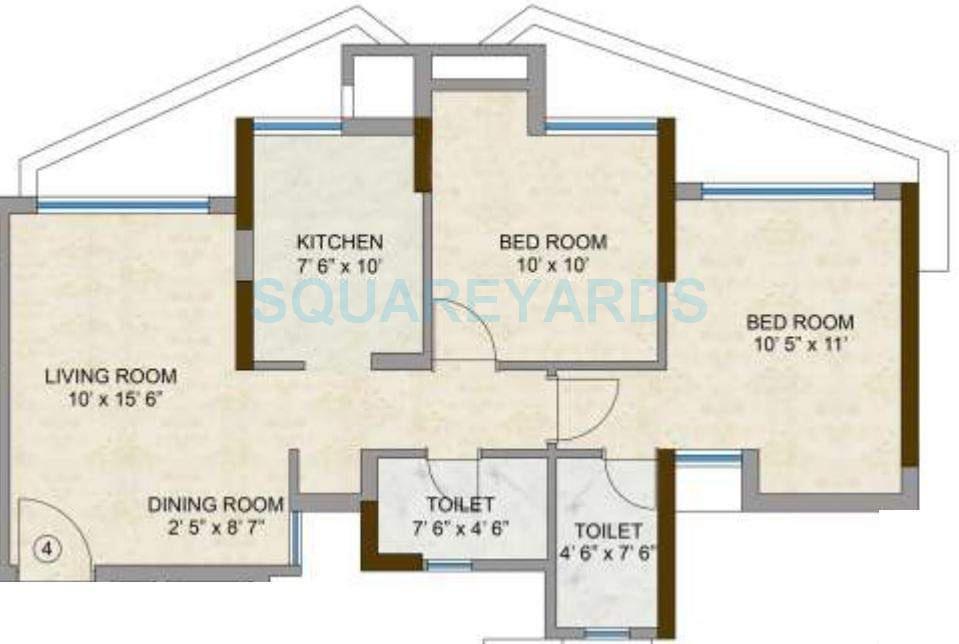 kalpataru hills apartment 2bhk 1188sqft1