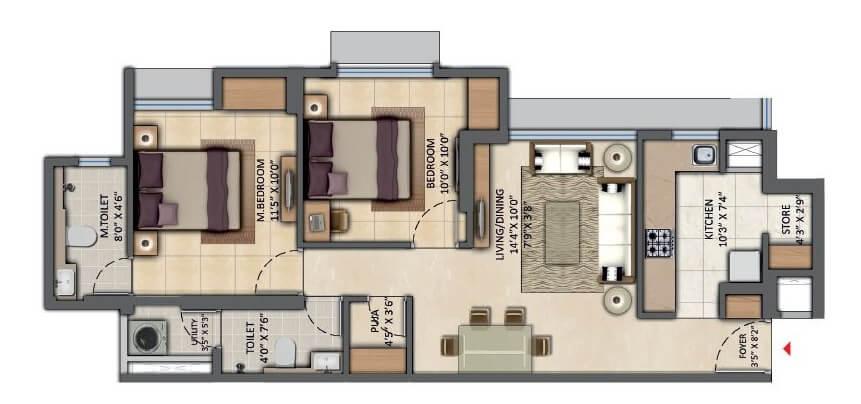 lodha amara apartment 2bhk 672sqft 1