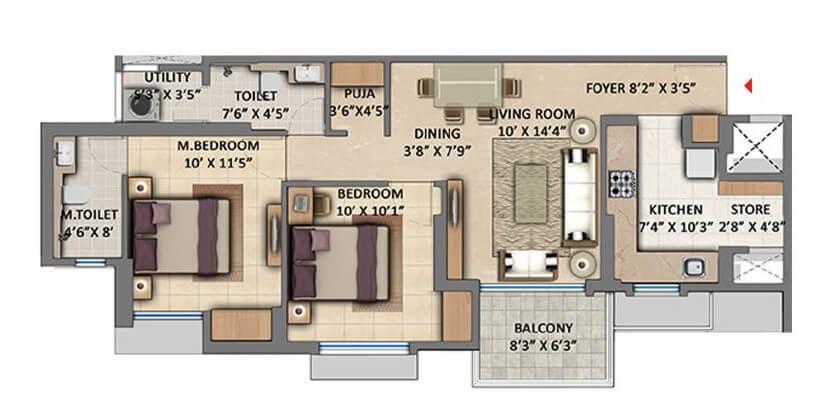 lodha amara apartment 2bhk 735sqft 1