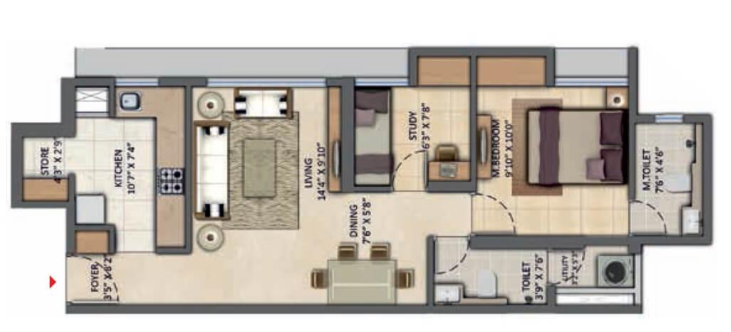 lodha amara new tower apartment 2bhk 557sqft 1